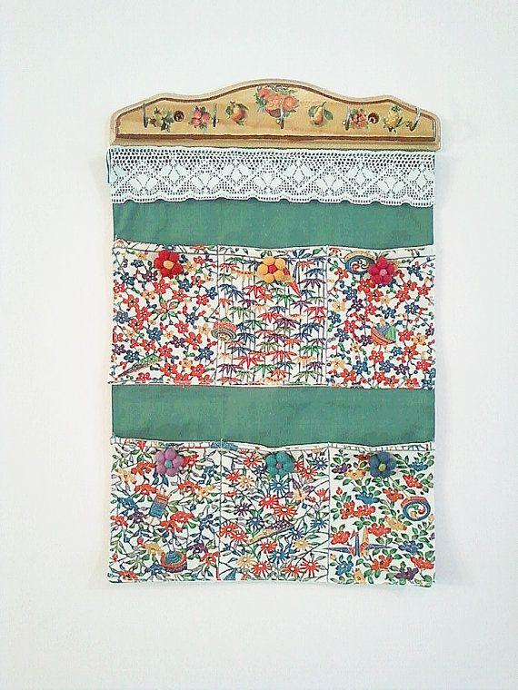 Fabric Wall Hanging Pocket Organizer by RobinsArtAndDesign on Etsy, $40.00