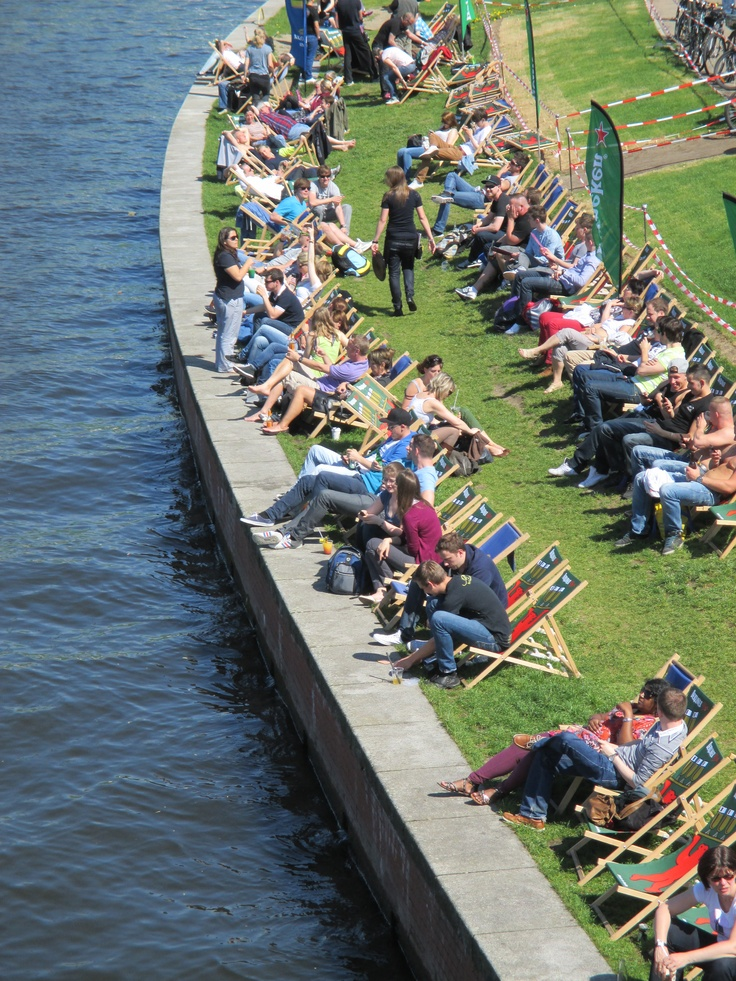 Sunbathing on Father's day at River #Spree in #Berlin