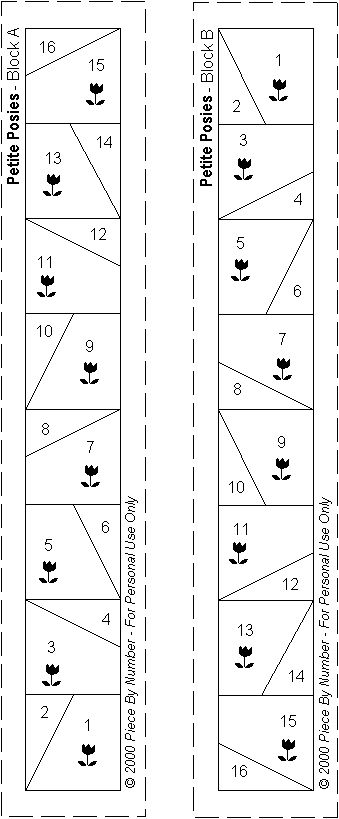 Petite Posies Paper Piecing Pattern Pieces
