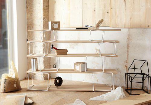 Modul Regal / originelles Design / aus Metall / aus Holz QUAKE by Antoine Phelouzat ENO STUDIO