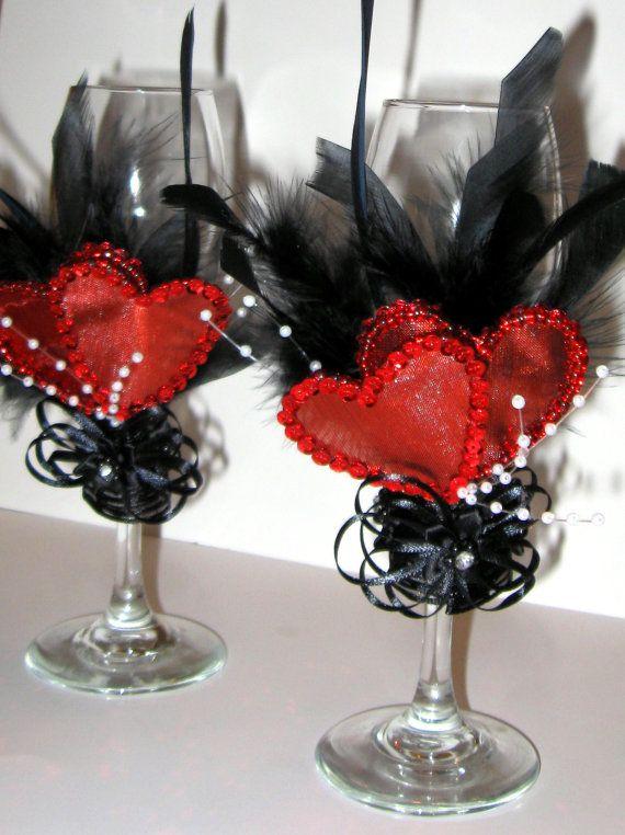 Dela Flor Black & Red Burlesque Wedding Flutes