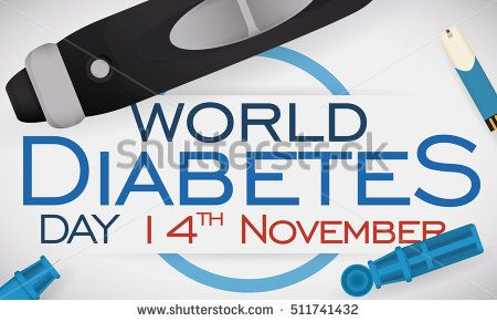 Commemorative banner with lancet, some spare parts and test strip for glucometer in a design for World Diabetes Day.