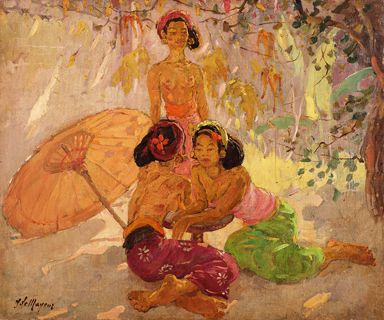 Adrien Jean Le Mayeur De Merprés - Three Women and Umbrella