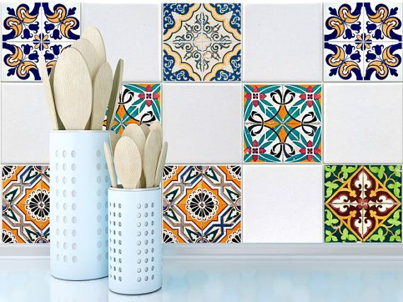 Tile decals Stickers - Tile Decals - Tile decals for Kitchen Bathroom - PACK OF 20 - Mexico, Morocco, Portugal, Spain, Mosaic #40 3M quality