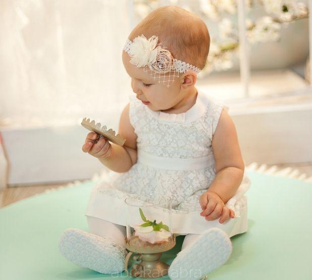 Opaska Ania z beżowym kwiatkiem