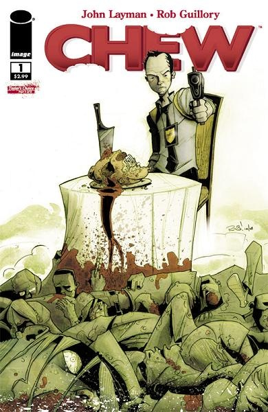 Chew, the story of a police detective who can psychically tell who killed a victim by eating part of it. Start with Chew Vol. 1: Tasters Choice.