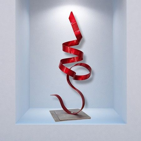Modern Abstract Table Sculpture   Red Perfect Moment Accent By Artist Jon  Allen | Sculptures |