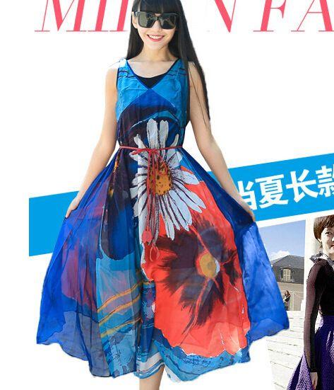 Sexy print lace summer Brand dress Strap deep v neck high waist beach dresses women 2017 new slit backless long dress