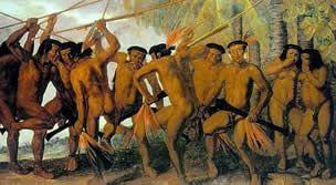 Na chegada de Pedro Álvares Cabral, em 1500, estima-se que os índios brasileiros fossem entre um e cinco milhões. Os tupis ocupavam a região costeira que se estende do Ceará a Cananéia (SP). Os guaranis espalhavam-se pelo litoral Sul do país e a zona do interior, na bacia dos rios Paraná e Paraguai. Em outras regiões, encontravam-se outras tribos, genericamente chamados de tapuias, palavra tupi que designa os índios que falam outra língua.