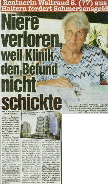 Bild-Zeitung vom 26.04.2014 - Niere verloren, weil Klinik den Befund nicht schickte - Rechtsanwaltskanzlei Sabrina Diehl