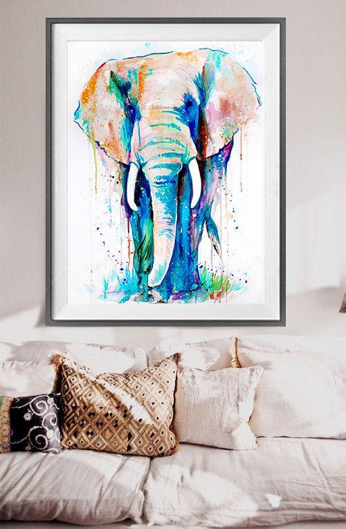 Acuarela de elefante africano pintura grabado por Slaveika