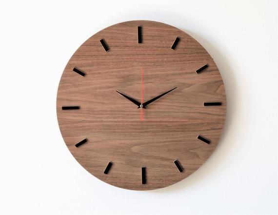 Simple And Modern Scandinavian Wall Clock Made Of Natural Walnut Veneer Slightly Raw Natural With A Black Border And Modern Clock Wooden Clock Wall Clock