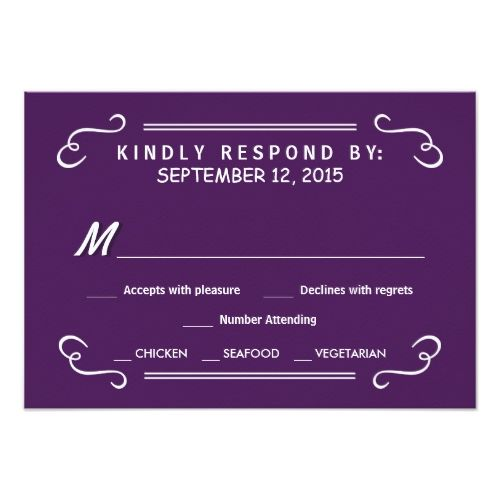Eat Drink & RSVP Eggplant Purple Wedding Reply Card