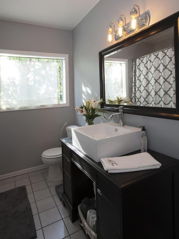 As seen on the HGTV series, House Hunters Renovation -->  http://hg.tv/vtdqHouse Hunters, Bathroom Inspiration, Gorgeous Bathroom, Hgtv Bathroom, Elegant Bathroom Colors, Bathroom Ideas, Grey Paint, Room Makeovers, Hunters Renovation