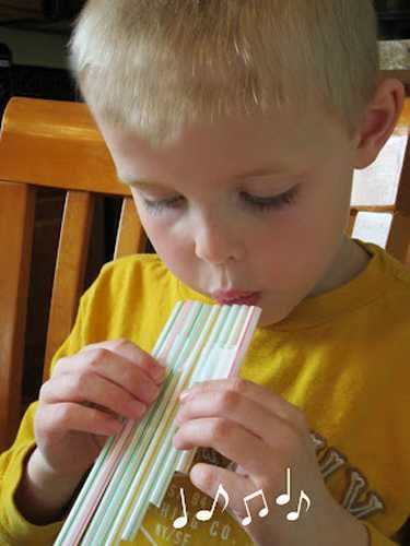 Musical instrument made with drinking straws, creative plastic recycling craft for kids