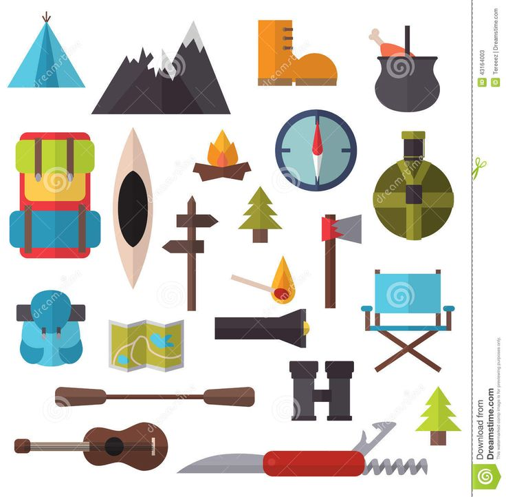 Camping And Hiking Equipment Illustration Isolated Flat Style
