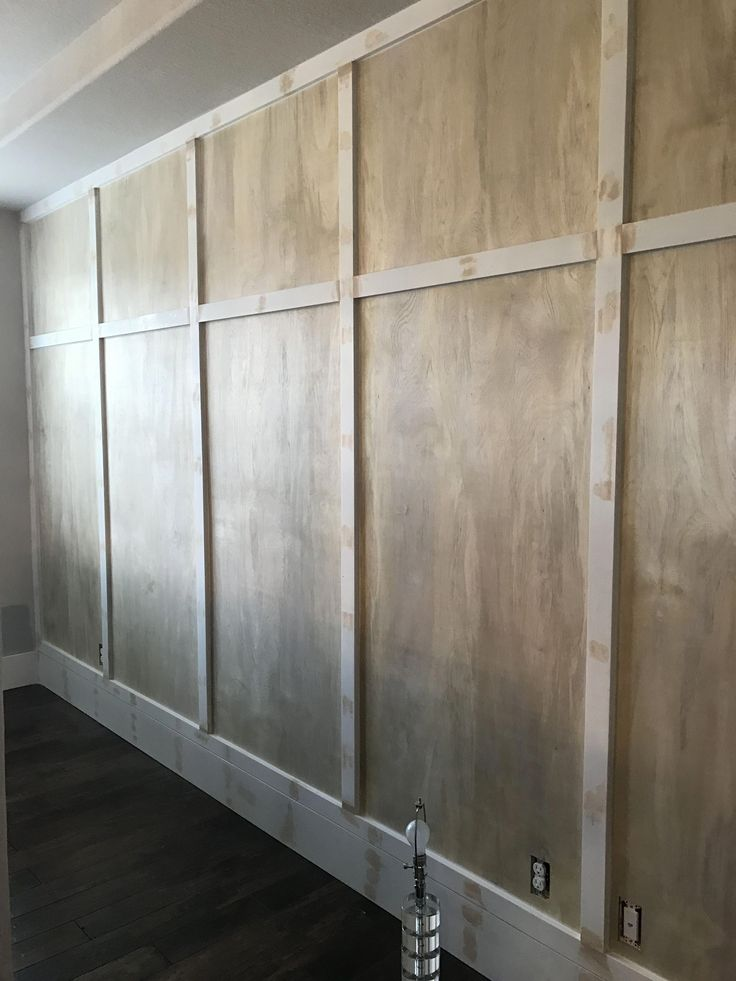Board and batton wall diy used very thin sanded plywood