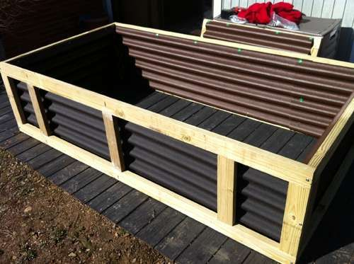 Great raised bed plan. The corrugated metal sides would probably be less susceptible to decay.