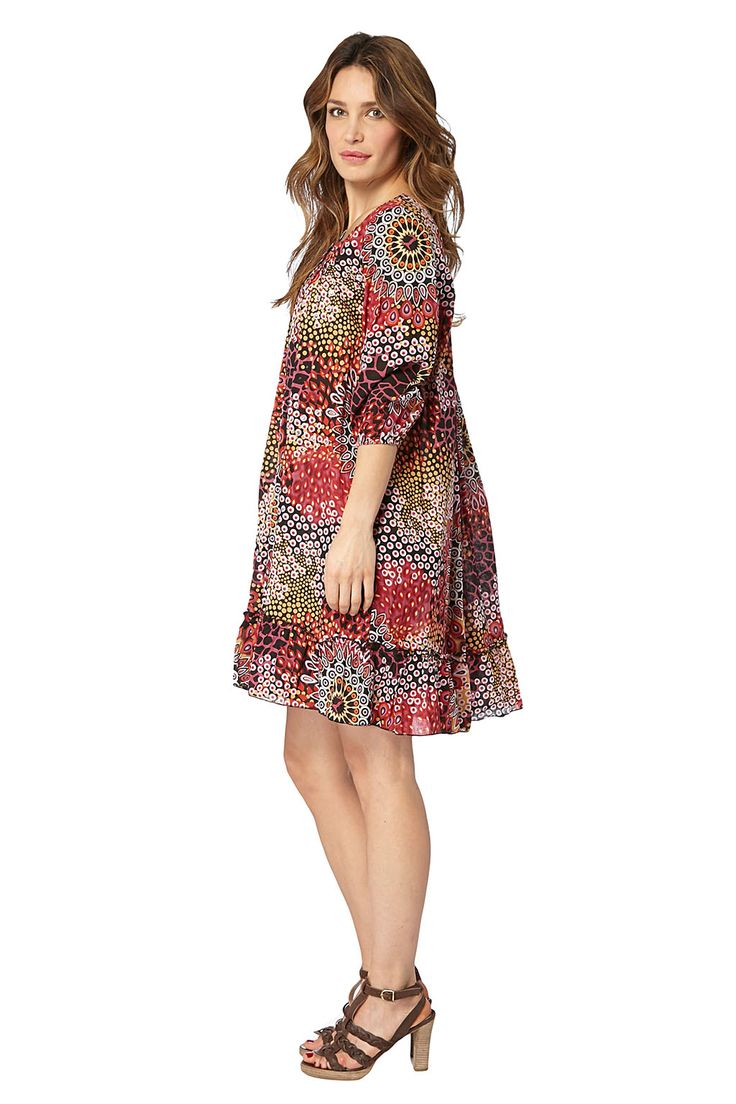 Kampania Palme / 17755 / Sukienki / Sukienki wzorzyste z rękawem / Sukienka Czerń i Czerwień