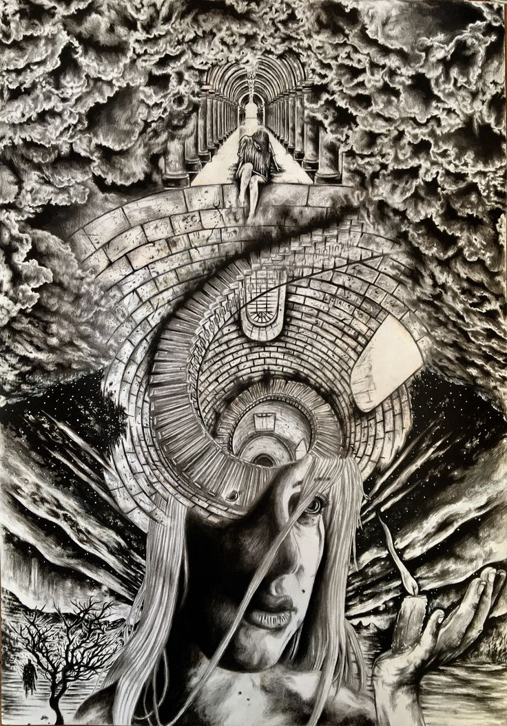 "Hours upon hours of shading for this one. This is the black and grey version of my new work ""Departures: Persephone Returns to Hades"", based on the old myth.                                           WARNING: Turning it upside down might unlock more than one perspectives."