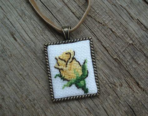 Yellow rose pendant Cross stitch pendant Handmade by IrinaJourba