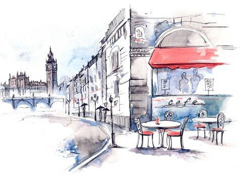 рисунок города акварелью