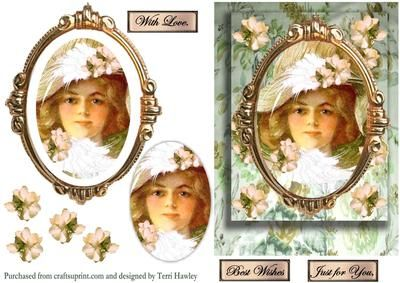 This is a beautiful 3D card, has a vintage lady in a frame, easy oval pyramid, and has soft pastel colours.  It has 3 labels,  Best Wishes, Just For You, and With love, plus you can use your own labels.