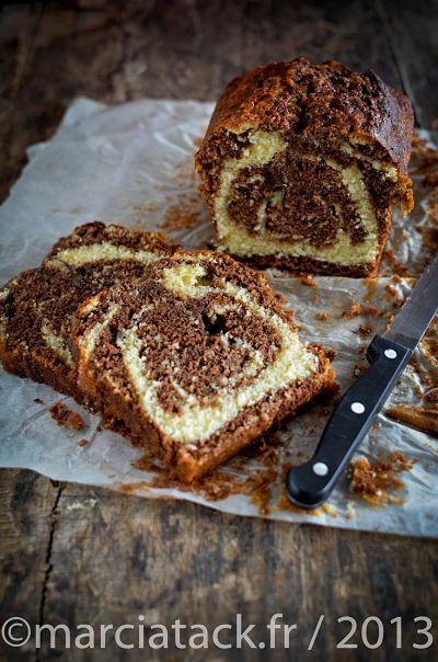 #cake #marbré au #chocolat très moelleux via Marcia Tack Pour mon four : 45 min, chaleur tournante
