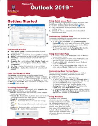 Outlook 2019 In 2018 Microsoft Office 2019 Quick Reference Guides