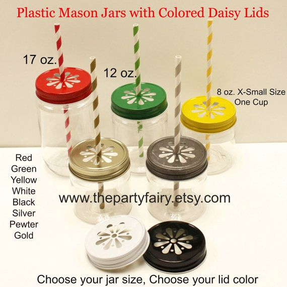 6 PLASTIC MASON JARS w/ Daisy Cut Lids, Standard 17 oz. Jar, Unbreakable, Mason Jar Tumblers, Drinks, Kids Tumbler, Small Mason Jar, Wedding on Etsy, $10.95