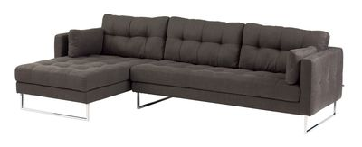 A gorgeous corner sofa in a soft fabric with a hand stitched detail on the seat, cushions and outer surround helping to create a real statement piece for any living room. Sitting on stainless steel legs this sofa range offers contemporary styling at a great price.