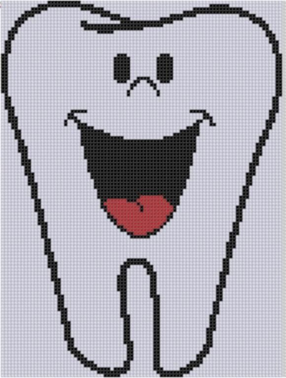 Smiling Tooth Cross Stitch Pattern -- Would be a cute gift for my dentist.
