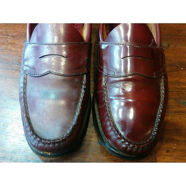 2017/04/22 09:24:13 o.arihito_chiba.sp クリーナー、防水スプレー汚れ除去&磨き👞 大事に履きたい靴にはクリーナー、スプレーはやめましょう(^^) #靴#靴磨き#バス#ローファー  #shoes #shoeshine #bass #mensstyle#mensfashion #mensshoes #オールデン#alden#八重洲