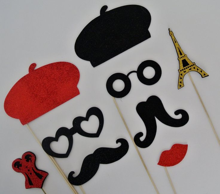 Amazon.com: Parisian Inspired Photo Booth Props Mustache on a Stick 9pc: Health & Personal Care
