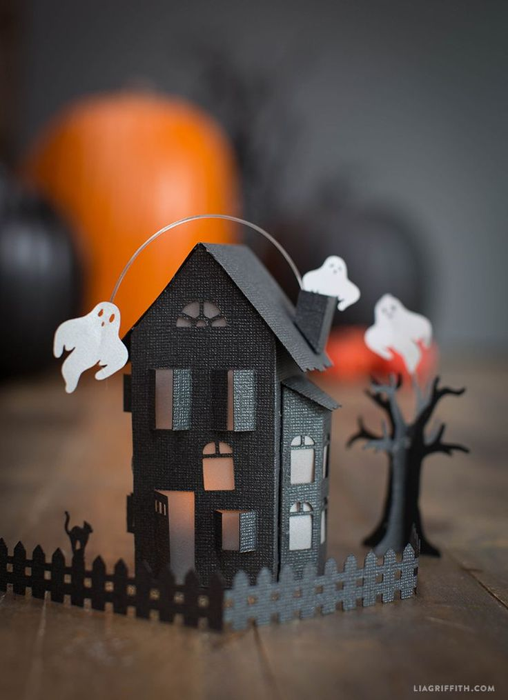 Paper Craft Haunted House by Lia Griffith. Black cardstock and a scoring board will make this Halloween paper project a breeze! Try Core'dinations Nightfall cardstock in stock at www.cardstockshop.com.
