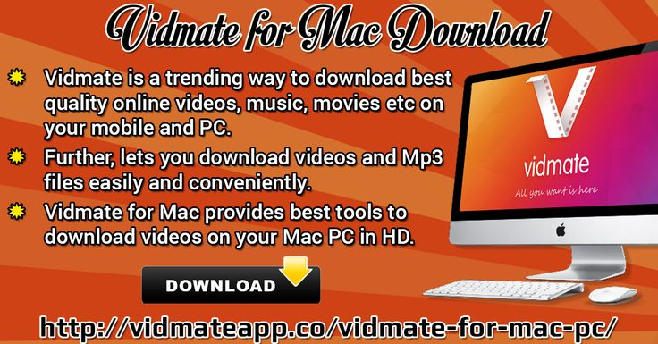 Vidmate is a trending way to download best quality online videos, music, movies etc on your mobile and PC. Further, lets you download videos and Mp3 files easily and conveniently. Vidmate for Mac provides best tools to download videos on your Mac PC in HD. Further, Vidmate for Mac OS X has designed with improved features that gives you freedom to download videos in different resolution and format.  Website Link : http://vidmateapp.co/vidmate-for-mac-pc/