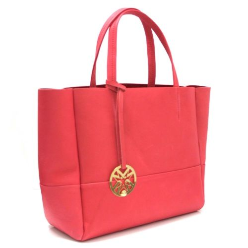 Marta Jonsson Coral Pink Leather Grab Bag with Gold MJ Detail