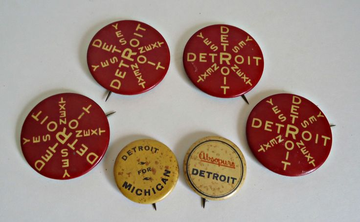 6 Antique Pinback Buttons Polictical Detroit 1896  Pins Button by TreasureCoveAlly on Etsy