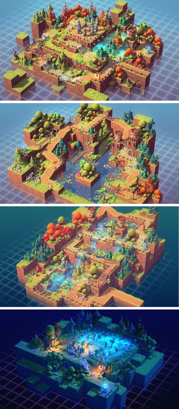 Isometric Pack 3d - modular blocks of surfaces (5 tiles multiplied by 8 combinations) - a variety of many props to choose from - trees, bushes and other types of vegetation - particle effects - Asset Store