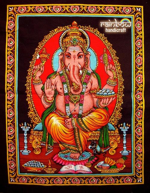 Indian hindu elephant god ganesh ganesha sequin coton fabric religious painting wall hanging tapestry ethnic home decor art India by rainbowhandicraft, $14.99