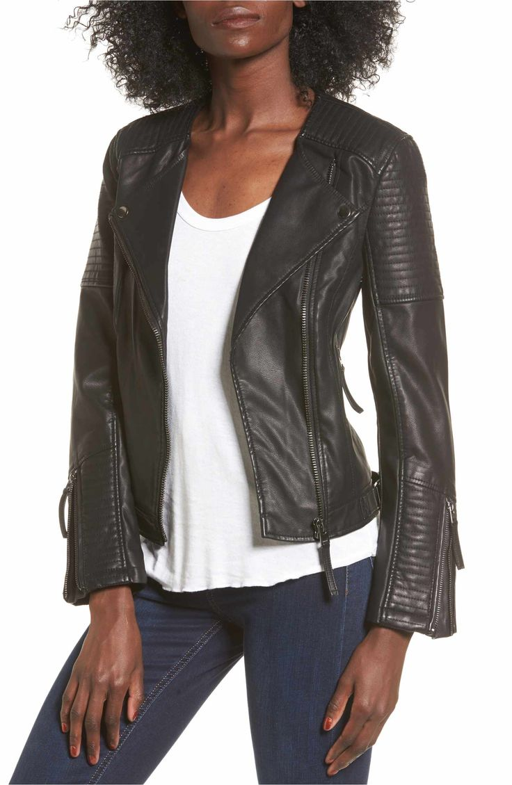 Nordstrom, $98. Main Image - Topshop Luna Faux Leather Biker Jacket