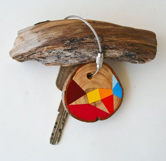 wood keychain with stainless  cable wire option by naneHandmade