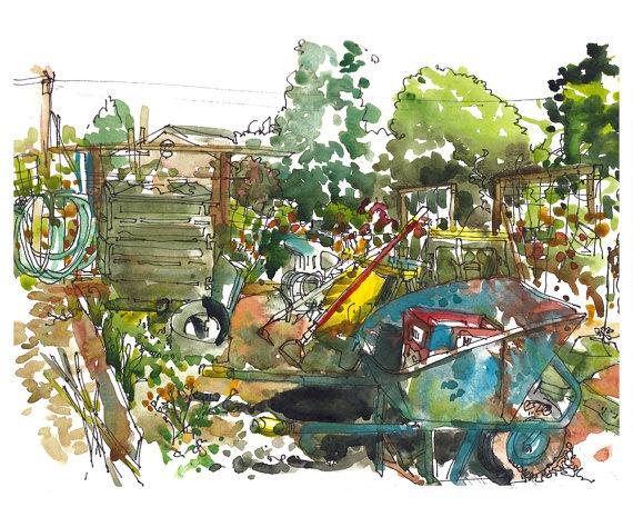 Community Garden. watercolor, pen and ink