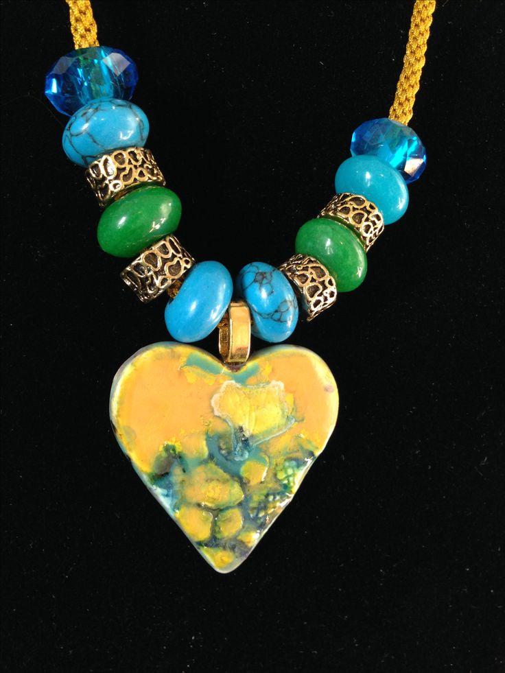 Gem stones & ceramic noecklace