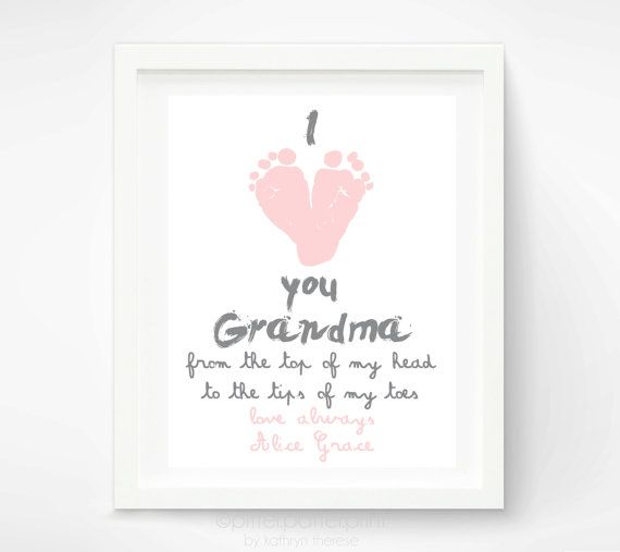 Personalized Mother's Day Gift for Grandma - I Love you Grandma Baby footprint Art -  Gift for Grandmother - Gift for New Grandma