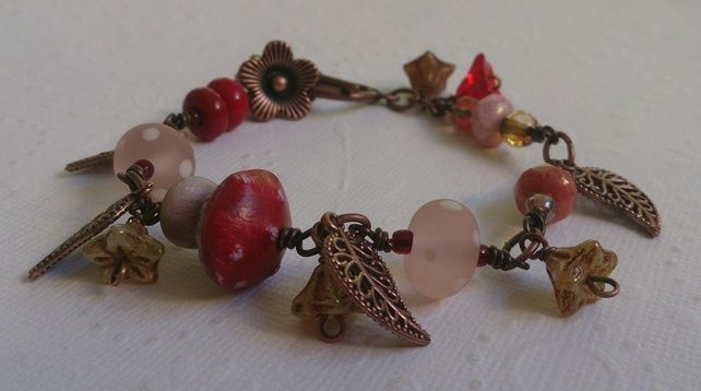 woodland charm copper and bead bracelet £20.00