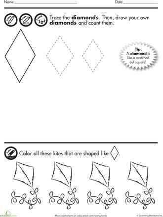 Shape Tracing Diamonds Worksheet Education Com Shapes For Kids Shapes For Toddlers Shapes Worksheets Diamond shapes worksheets kindergarten