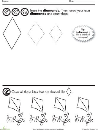worksheets shape tracing diamonds kids shapes theme craft activities pinterest. Black Bedroom Furniture Sets. Home Design Ideas