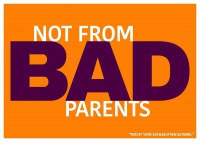 Lustiger Denglisch Spruch not from bad parents mit orangenem Hintergrund–mypostcard (Cool Pics Life)