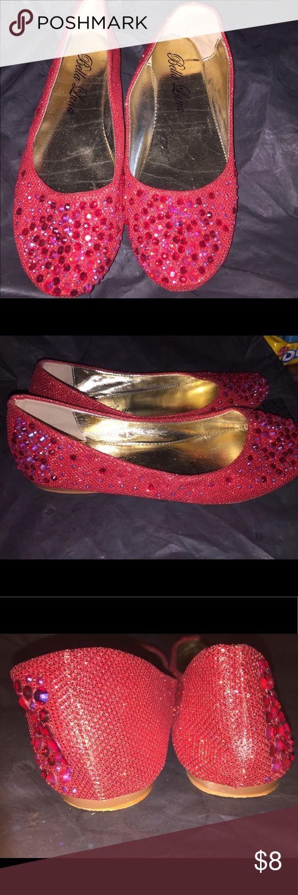 Bella luna Womens size 6 flats Bella Luna women's red embellished flats. Size 6 worn once narrow in front. bella luna Shoes Flats & Loafers
